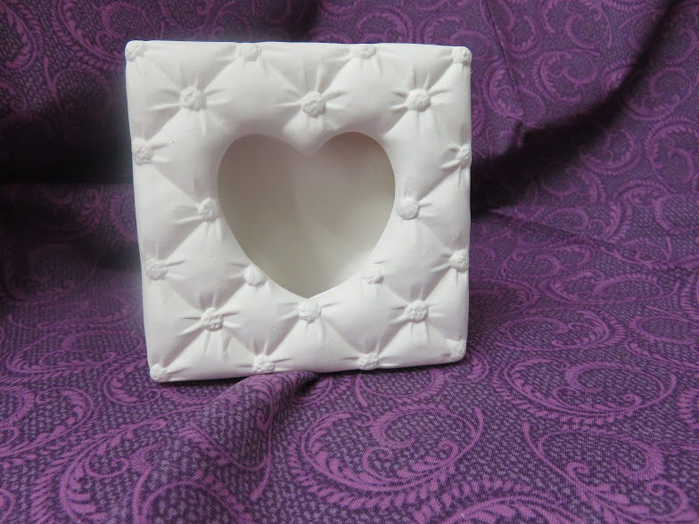 Unpainted Ceramic Bisque Soft Sculpture Picture Frame 4 x 4 - product image