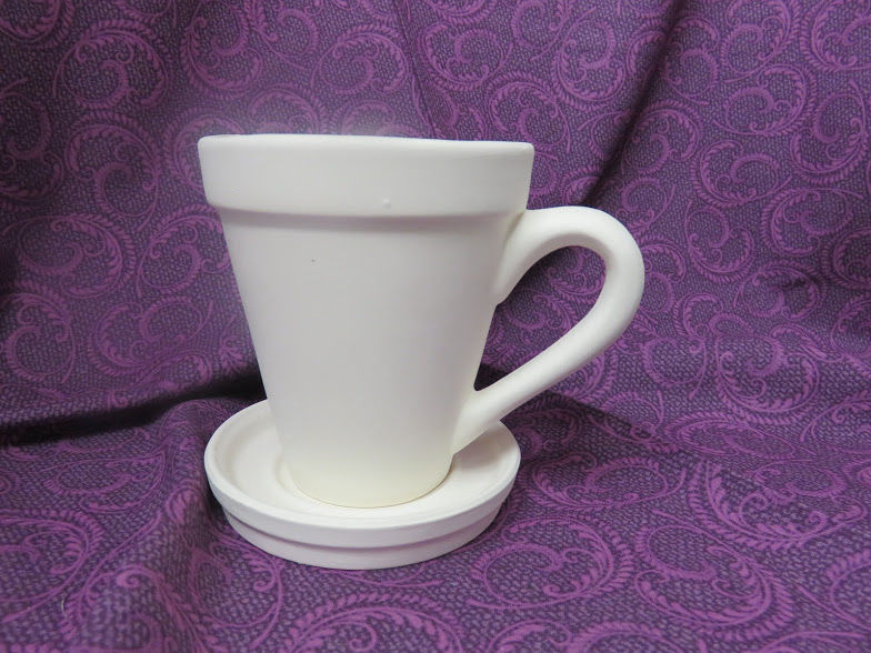 Mug Planter with Saucer Ceramic Bisque Ready to Paint - product image