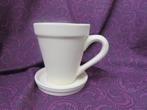 Mug,Planter,with,Saucer,Ceramic,Bisque,Ready,to,Paint,Mug planter, Ceramic, Bisque, Ready to Paint,ready to finish,kg krafts