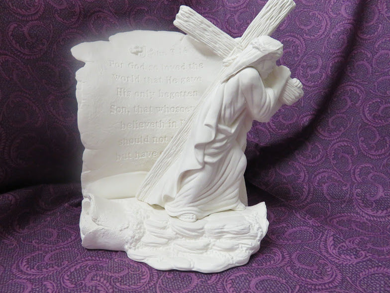 Jesus Carrying the Cross Unpainted Ceramic Bisque - product image
