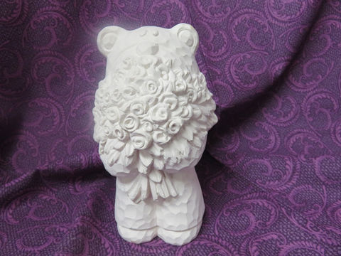 Carved-Look,Bear,Holding,Roses,Unfinished,Ceramic,Bisque,ready,to,paint,ceramic bisque,ready to paint,ceramics, bisque,kg krafts,Carved-Look Bear Holding Roses