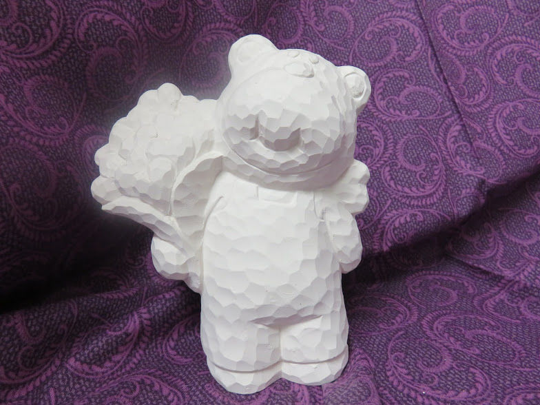 Carved-Look Bear Holding Heart Bouquet Unfinished Ceramic Bisque ready to paint - product images