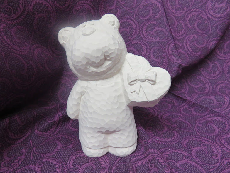 Carved-Look Bear Holding a Heart Unfinished Ceramic Bisque ready to paint - product images