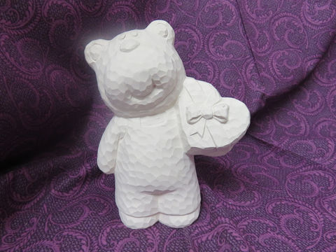 Carved-Look,Bear,Holding,a,Heart,Unfinished,Ceramic,Bisque,ready,to,paint,ceramic bisque,ready to paint,ceramics, bisque,kg krafts,Carved-Look Bear Holding a heart