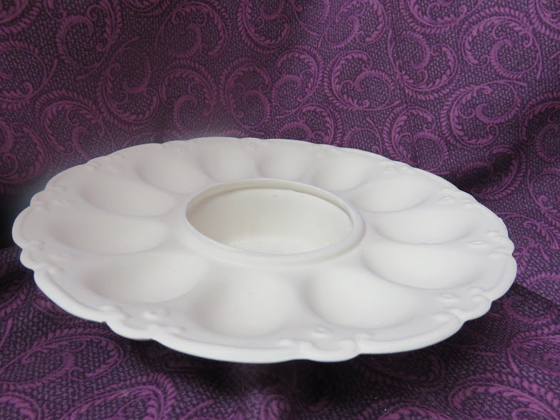 Deviled Egg Dish Unfinished Ceramic Bisque ready to paint - product image