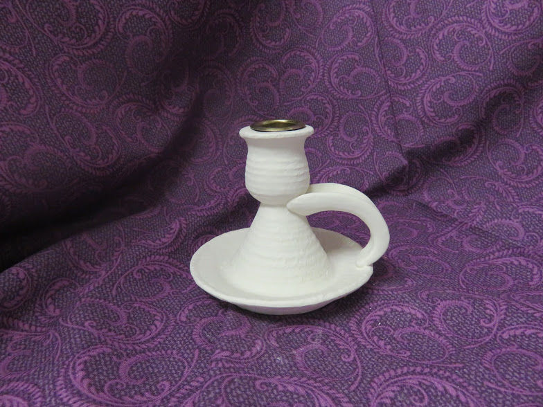 Thrown Pottery-look Candle Stick  Ceramic Bisque Ready to Paint - product images