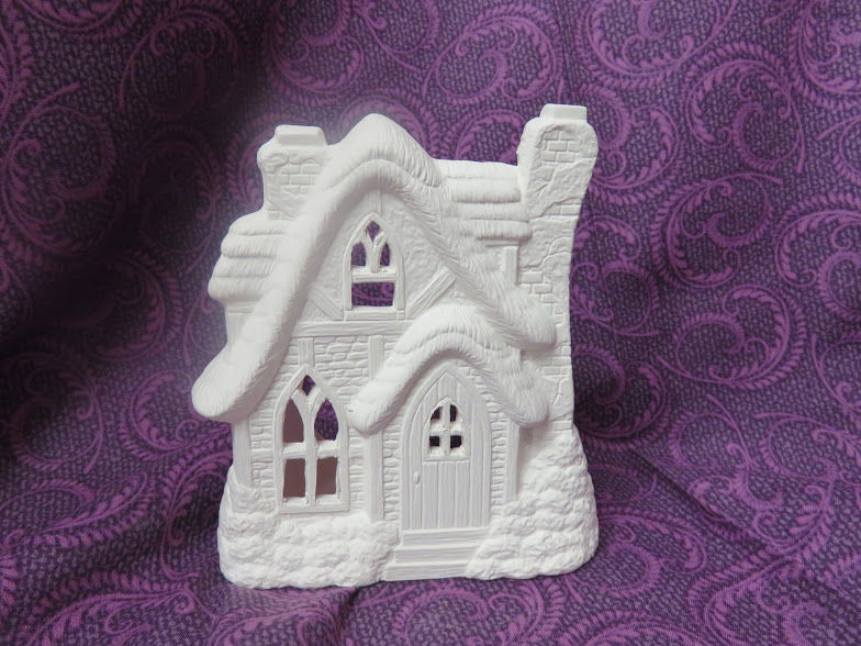 English Cottage Tealight Holder Ceramic Bisque Ready to Paint - product image