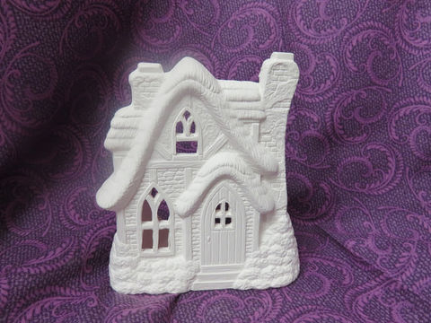 English,Cottage,Tealight,Holder,Ceramic,Bisque,Ready,to,Paint,English Cottage Tealight Holder, Ceramic Bisque Ready to Paint,  ceramic bisque,ready to paint,ceramics, bisque,kg krafts