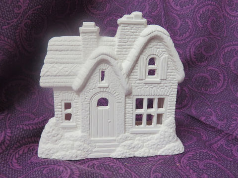 English,Country,Cottage,Tealight,Holder,Ceramic,Bisque,Ready,to,Paint,English Cottage Tealight Holder, Ceramic Bisque Ready to Paint,  ceramic bisque,ready to paint,ceramics, bisque,kg krafts