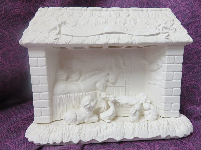 Animal Nativity Set in Ready to Paint Ceramic Bisque - product image
