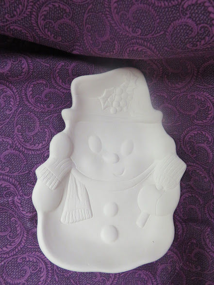 Snowman Dish Ready to Paint Ceramic Bisque - product image