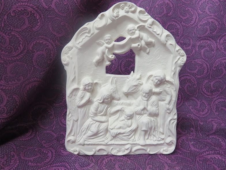 Nativity Plaque Ready to Paint Ceramic Bisque - product images