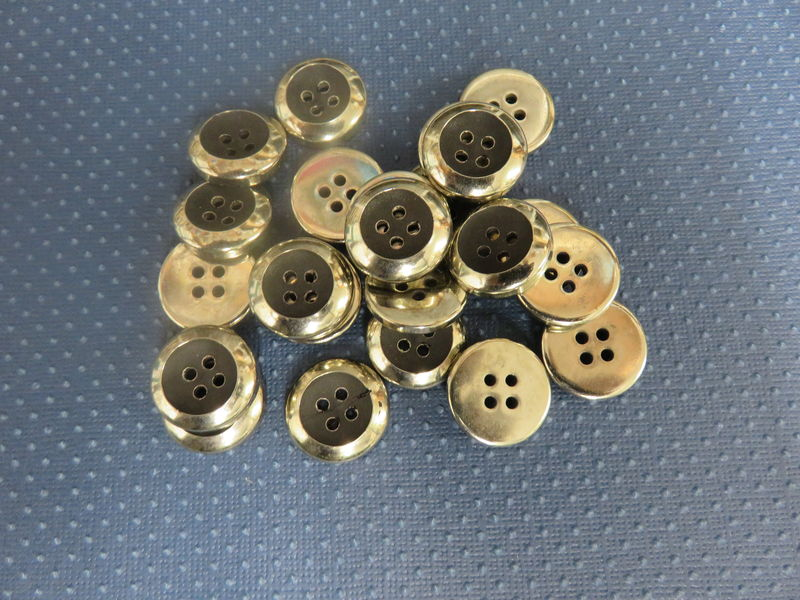 Silver with Black Center Four Hole Buttons Package of 50 pieces - product image