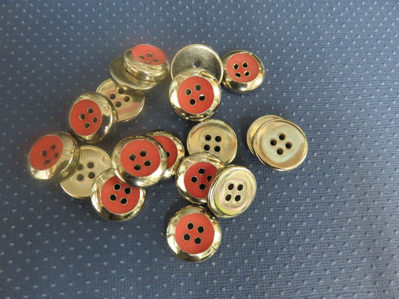 Silver with Red Center Four Hole Buttons Package of 50 pieces - product image