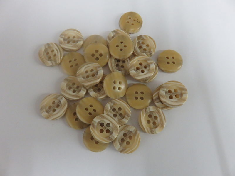 Tan Striped Four Hole Buttons Package of 50 pieces - product image