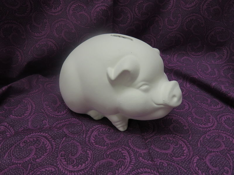 Sitting Piggy Bank in Ceramic Bisque - product image