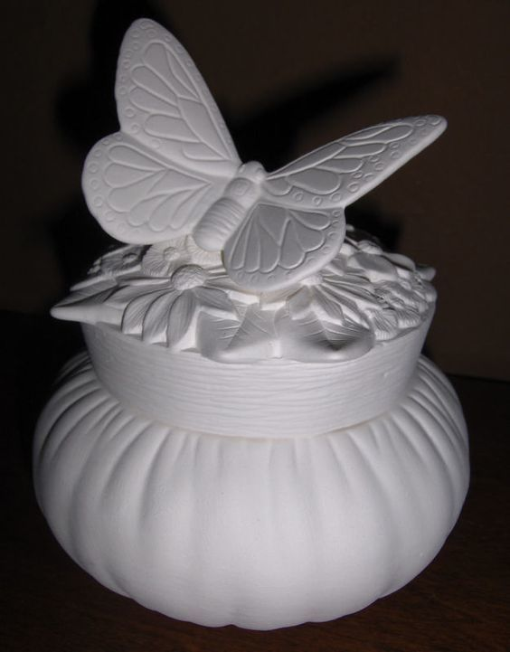 Butterfly and Flowers Box Ceramic Bisque Ready to Paint - product images