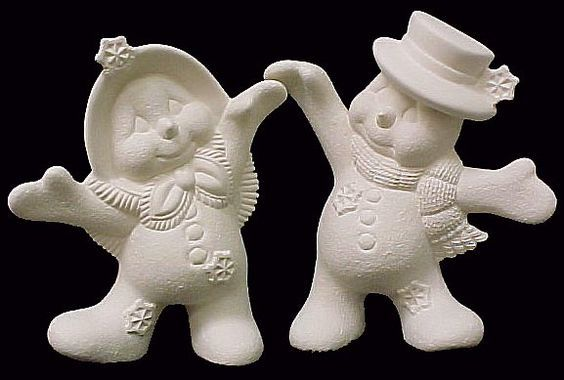 Dancing Snow Couple Ready to Paint Ceramic Bisque - product images