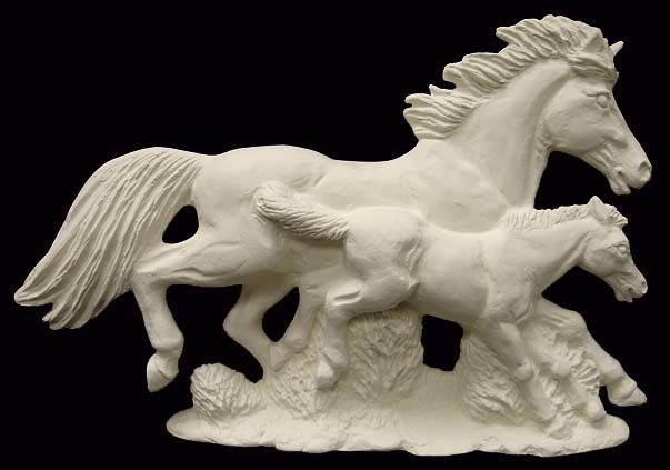 Mustang with Colt Horse Ceramic Bisque ready to paint - product images