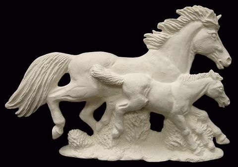 Mustang,with,Colt,Horse,Ceramic,Bisque,ready,to,paint, horse, ceramic bisque, ready to paint,kg krafts,shower favors,nowell molds
