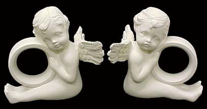 Cherub Napkin Rings set of two Unpainted Ceramic Bisque - product images