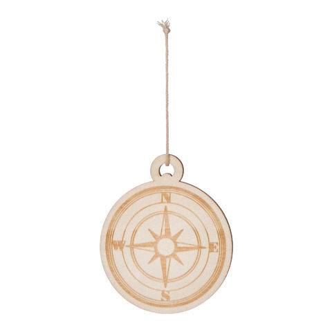 Wood Compass Ornament ready to paint - product images