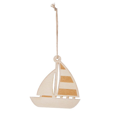 Wood SailBoat Ornament ready to paint - product images