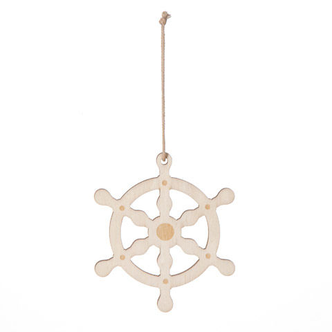 Wood Ships' Wheel Ornament ready to paint - product images