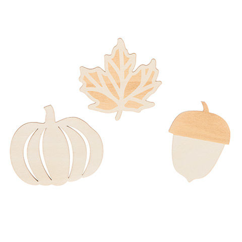 Darice® Fall Shapes Acorn Leaves Pumpkins- Unfinished - Wood - product images