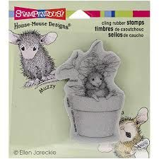 Stampendous Cling Rubber Stamps Potted Mouse Mouse House Designs - product images