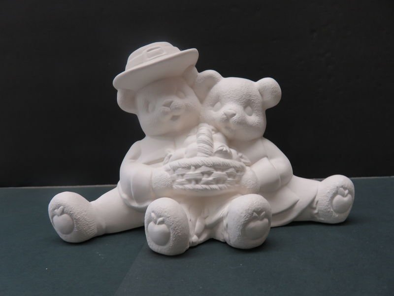 Pilgrim Cuddle Bears with Apple Basket in Ready to Paint Ceramic Bisque - product images