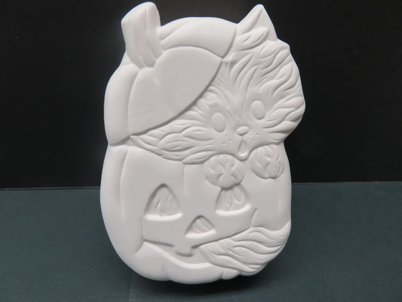 Cat in Pumpkin Box Ceramic Bisque Ready to Paint - product image
