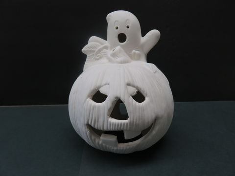 Ghost,on,Pumpkin,in,Ready,to,Paint,Ceramic,Bisque,Ghost on Pumpkin in Ready to Paint Ceramic Bisque,ceramic bisque,ready to paint,ceramics, bisque,kg krafts