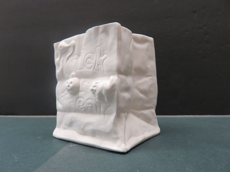 Halloween Tealight Bags  Trick or Treat in Ready to Paint Bisque - product image