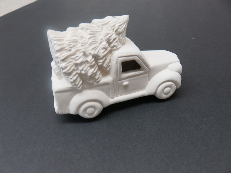 Lit' Truck with Tree Ornament in Ready to Paint Ceramic Bisque - product images