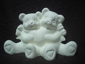 Cuddle Bears with Hearts in Ready to Paint Ceramic Bisque - product images