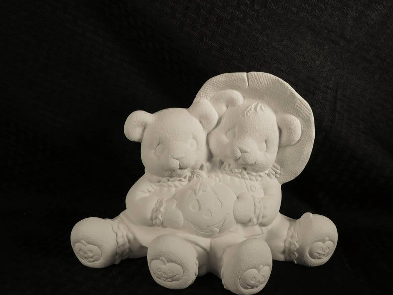 Cuddle Bears with Pumpkins in Ready to Paint Ceramic Bisque - product images