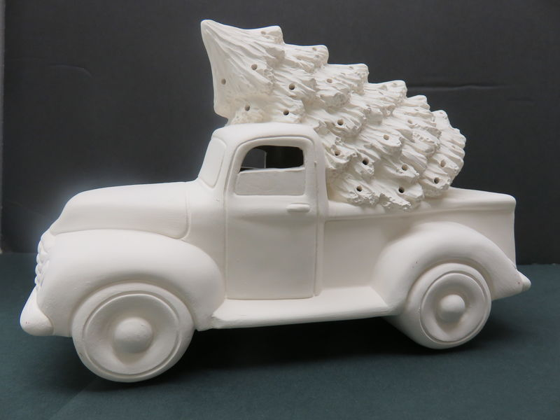 Truck with Tree in Ready to Paint Ceramic Bisque - product image