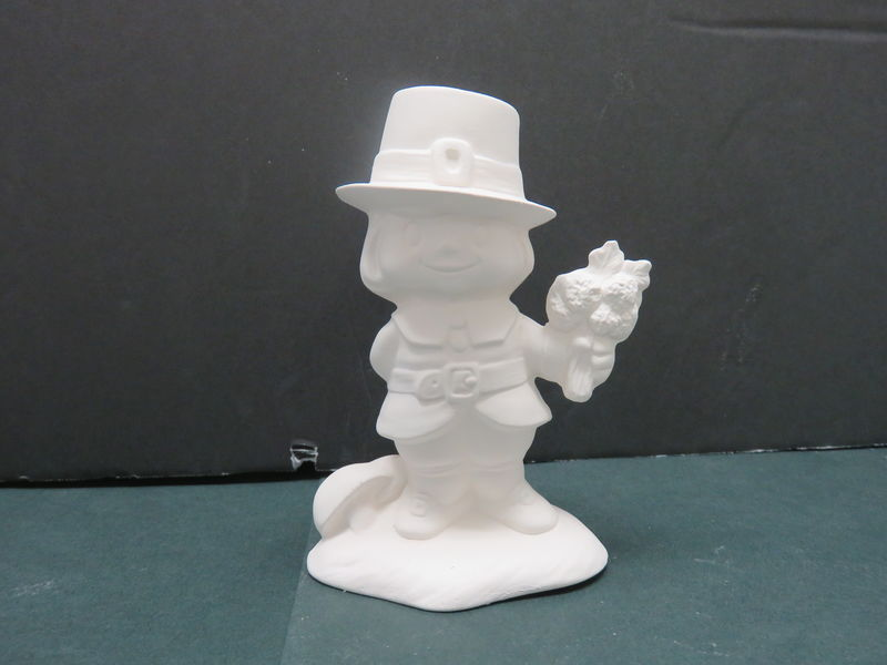 Pilgrim Boy with Flower Bunch in Ready to Paint Ceramic Bisque - product images
