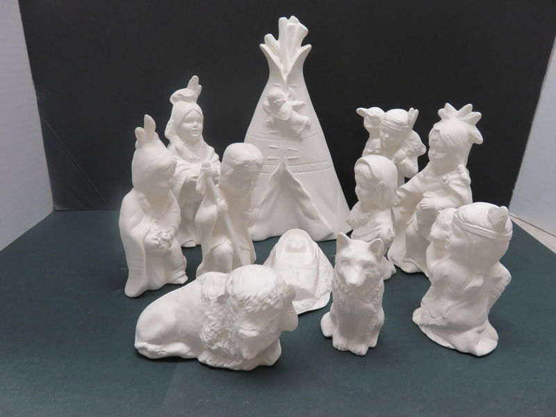 Indian Nativity Set in Ceramic Bisque Ready to Paint - product images
