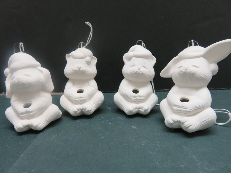 Set of Four Animals Light Sitter Ornaments in Ceramic Bisque Ready to Paint - product images