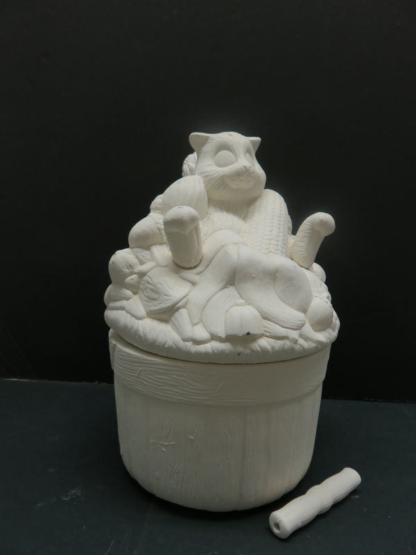 Basket with Squirrel Lid in Ceramic Bisque Ready to Paint - product image