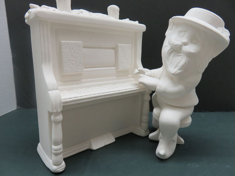 Santa's Piano Player Elf  in Ceramic Bisque Ready to Paint - product images