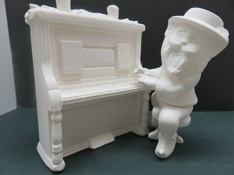 Santa's,Piano,Player,Elf,in,Ceramic,Bisque,Ready,to,Paint,Santa's Piano Player Elf ,Ready to Paint,kg krafts,ceramics, painting, planter,