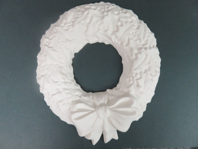 Christmas Holly Wreath Unfinished Ceramic Bisque ready to paint - product images