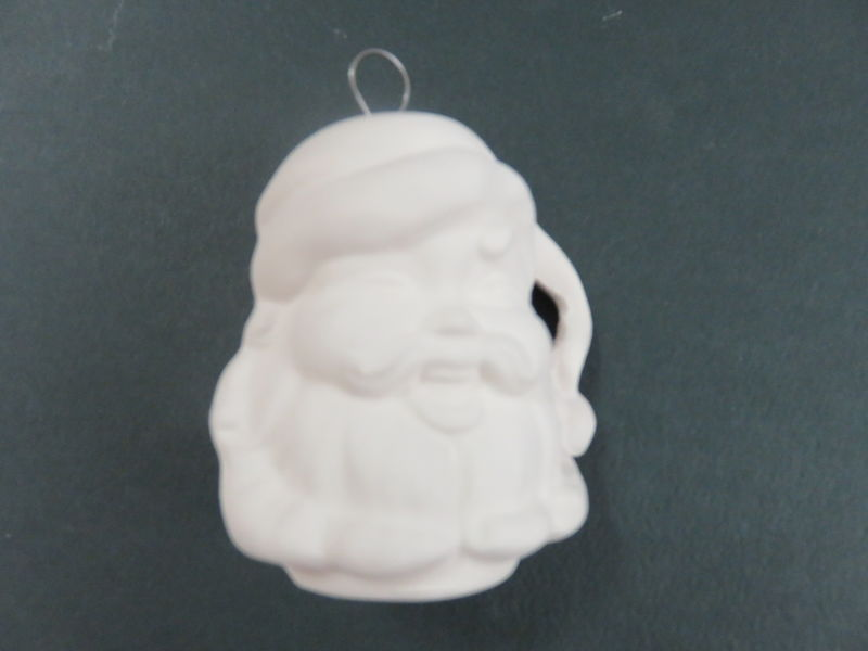 Santa Ornament Unfinished Ceramic Bisque ready to paint - product images