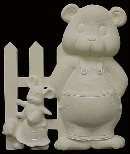 Baby Bear Fence with Turtle and Mouse Right Side Ready to Paint Ceramic Bisque - product images