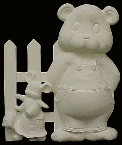 Baby,Bear,Fence,with,Turtle,and,Mouse,Right,Side,Ready,to,Paint,Ceramic,Bisque,baby,bear,clay magic,ceramic,bisque,kg krafts,ready to paint,fence,turtle