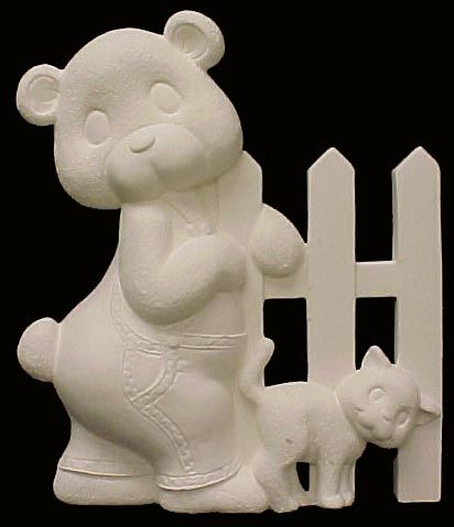 Baby Bear Fence with Cat Left Side Ready to Paint Ceramic Bisque - product images