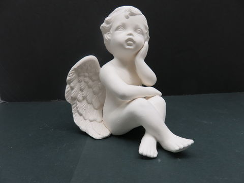 Cherub,hand,on,Chin,and,Knees,kisses cherub, angel, ceramic bisque, ready to paint,kg krafts,shower favors,scioto molds 1756